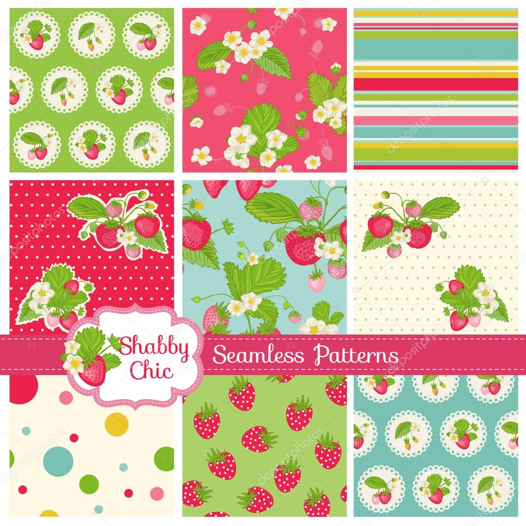 Set of Seamless Patterns and Backgrounds - Strawberry Shabby Chic Theme