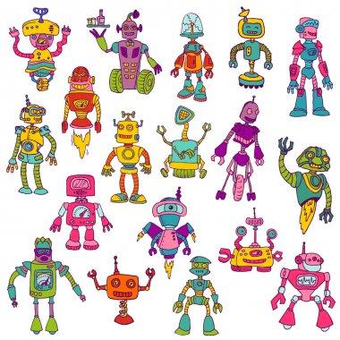 Set of Robots - Hand Drawn Doodles