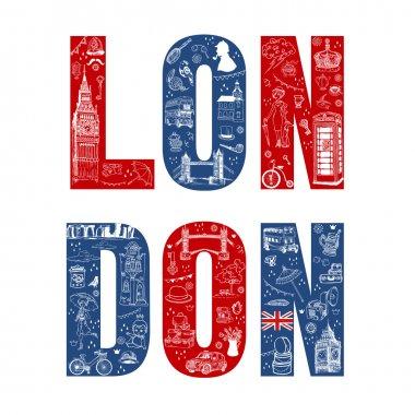 London Illustation Card - hand drawn in vector