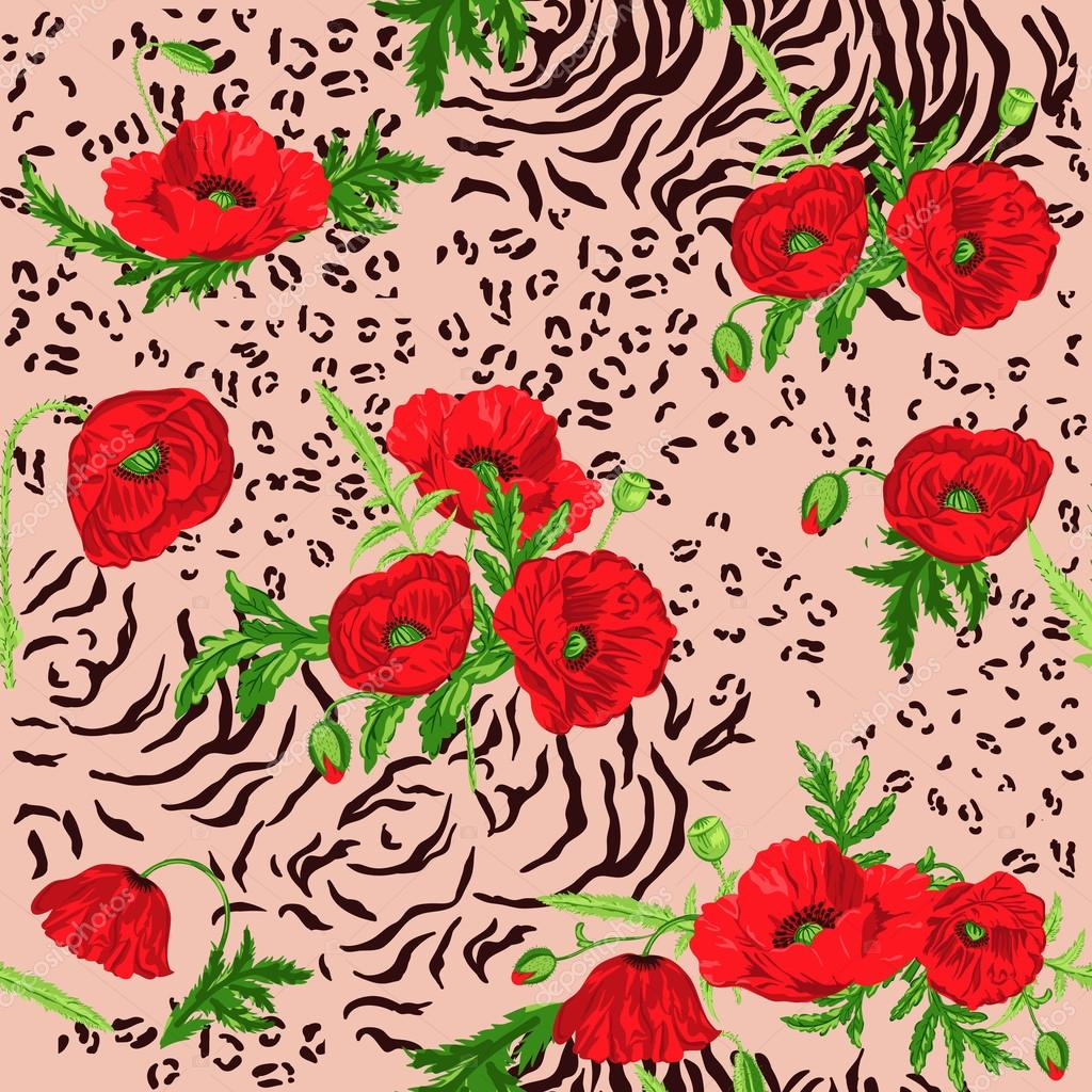 Floral Seamless Pattern - Poppy and Animal Skin Theme