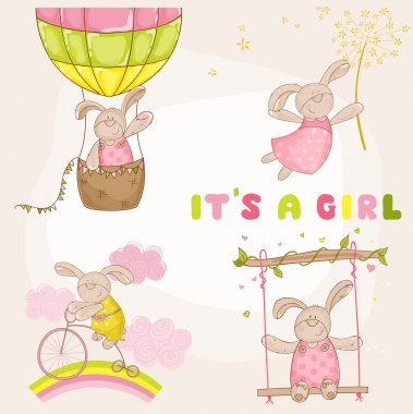 Baby Bunny Set - Baby Shower or Arrival Card - in vector