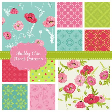 Floral Seamless Patterns - Poppy Theme - in vector