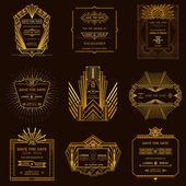 Speichern von Datum - Set Hochzeit-Einladungskarten - Art Deco-Stil