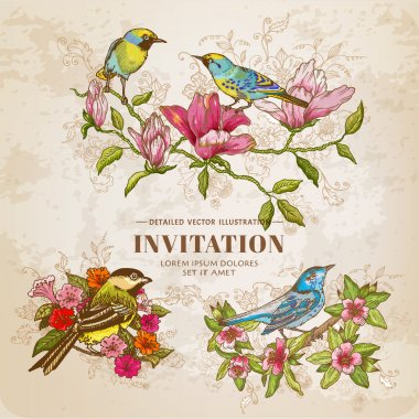 Set of Vintage Flowers and  Birds - hand-drawn Illustration