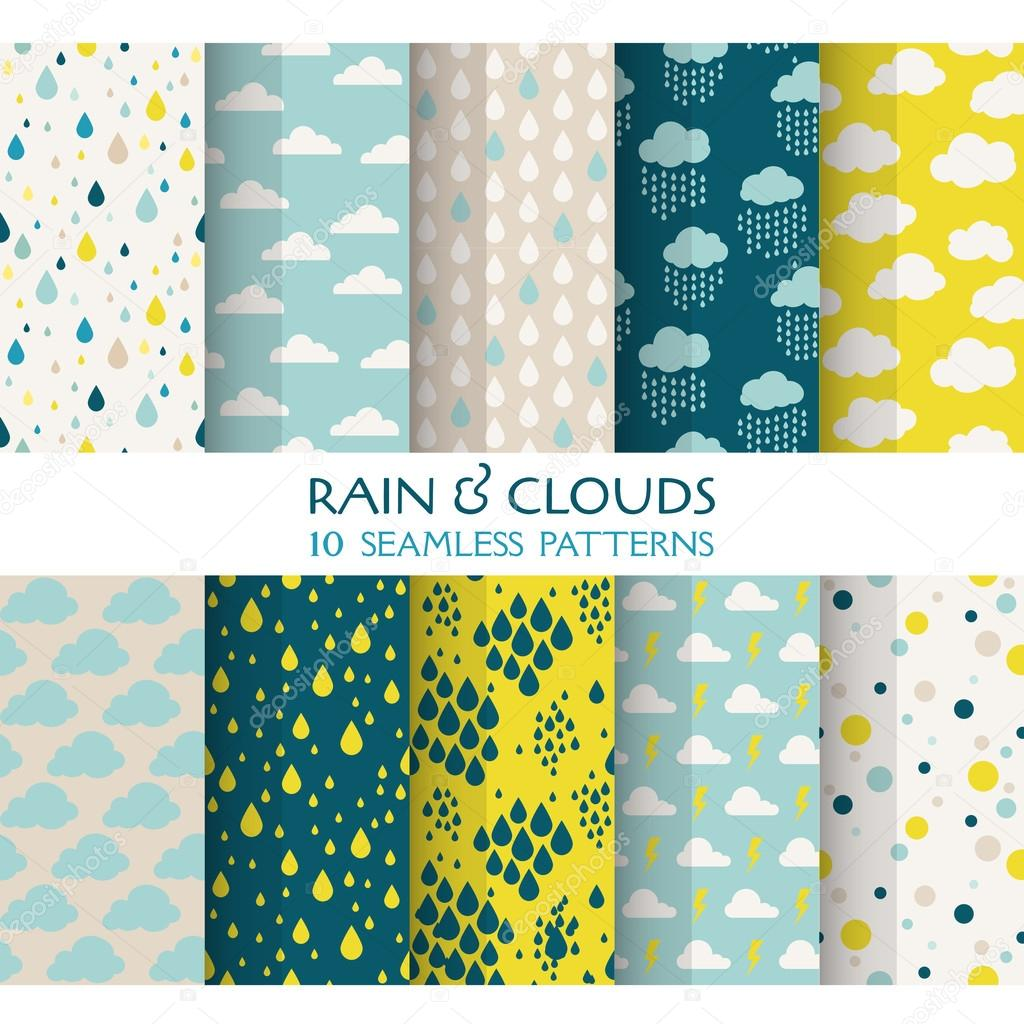 10 Seamless Patterns - Rain and Clouds - Texture for wallpaper