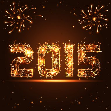 Happy New Year - 2015 - golden fireworks numbers - in vector