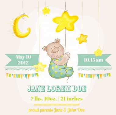 Baby Boy Arrival Card - Baby Bear with Moon and Stars