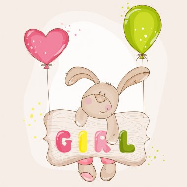 Baby Bunny with Balloons - for Baby Shower or Baby Arrival Cards