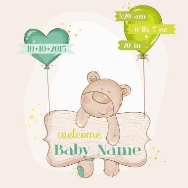 Baby Bear with Balloons - Baby Shower or Baby Arrival Cards