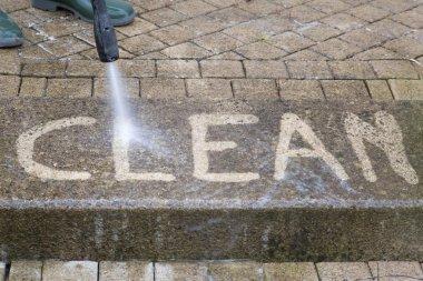 Outdoor floor cleaning with high pressure water jet stock vector