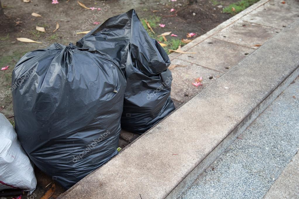 Black garbage bags.