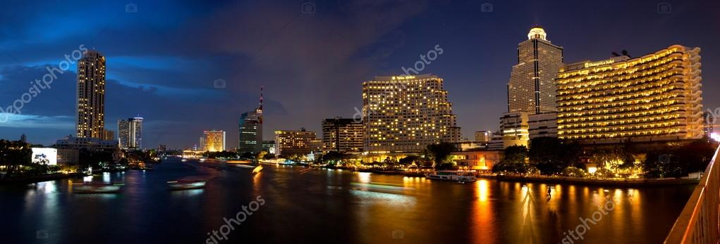 Panorama building near river in bangkok city.