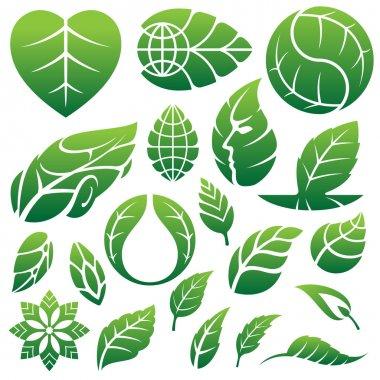 Leaf icons logo and design elements