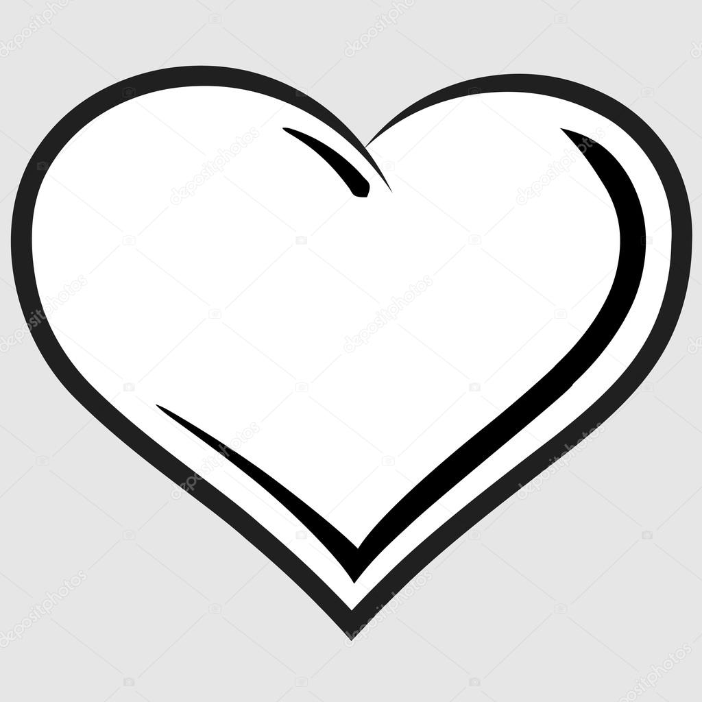 Black and white heart vector
