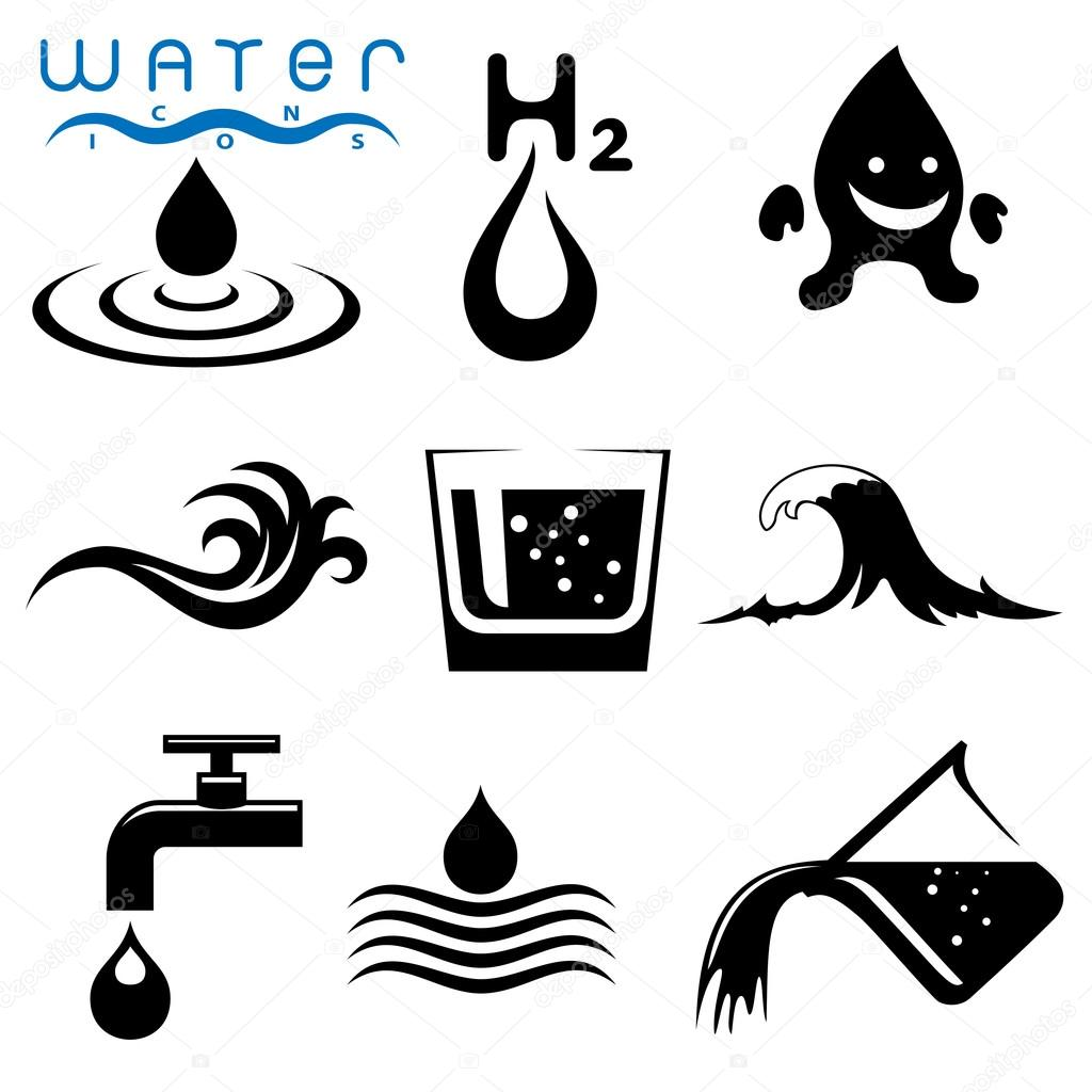 Water signs icons and symbols