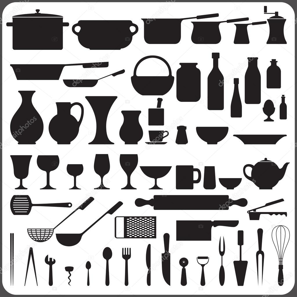 utensili da cucina set di 57 sagome oggetto ? vettoriali stock ... - Arnesi Da Cucina