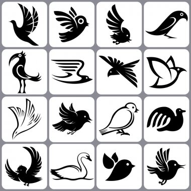 bird icons set
