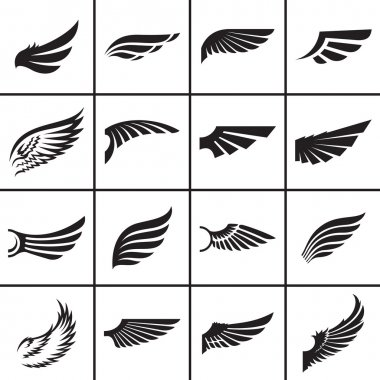 Wings design elements set in different styles vector illustration stock vector