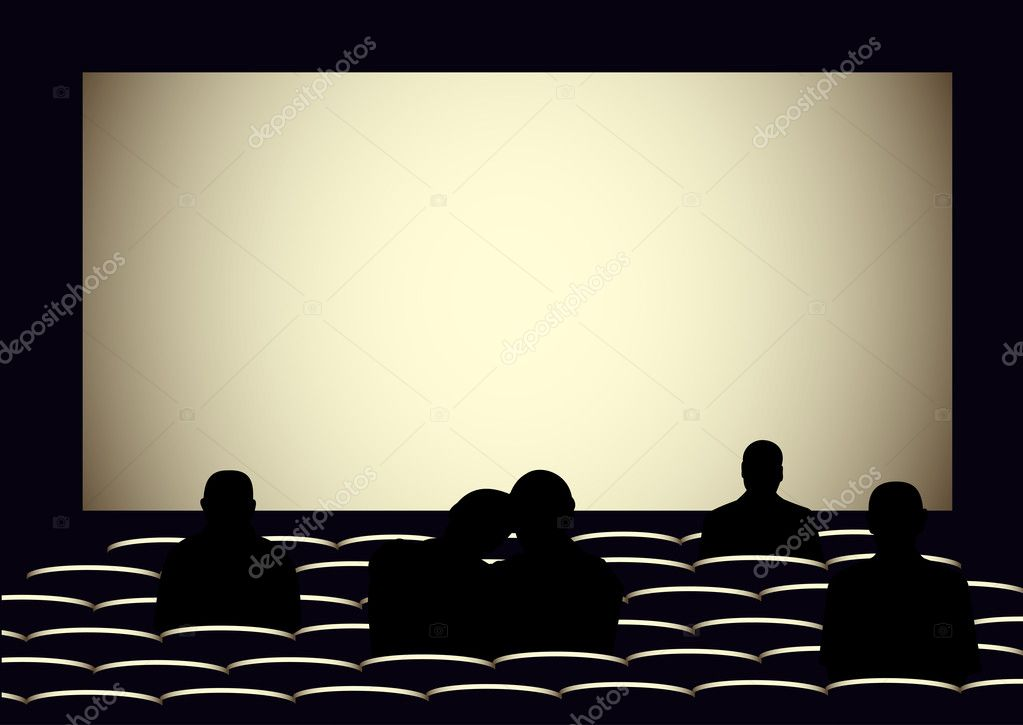 Cinema With Silhouettes Of People Stock Vector C Rolaks 28581507
