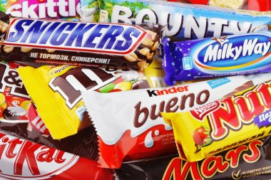 Closeup of a variety chocolate bars