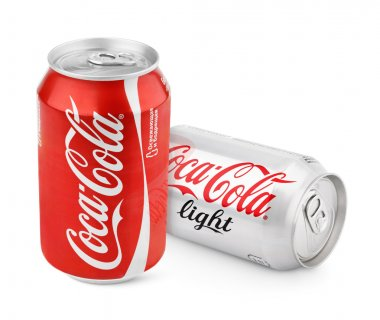 Aluminum cans of red Coca-Cola Classic and Light