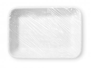 Wrapped white styrofoam food tray
