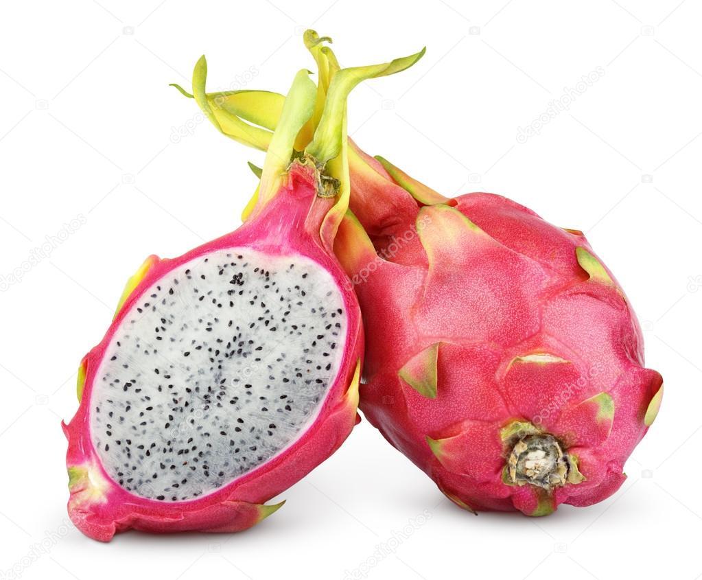 Dragon fruit or pitaya isolated on white