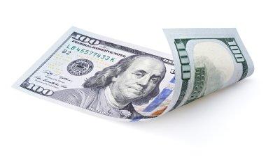 Hundred dollar bill on white
