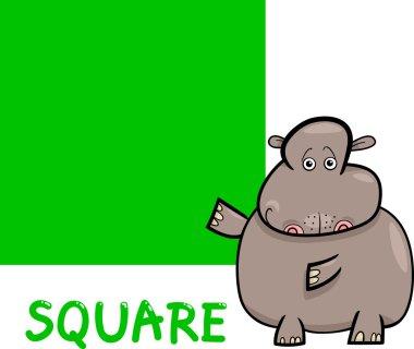 Square shape with cartoon hippo