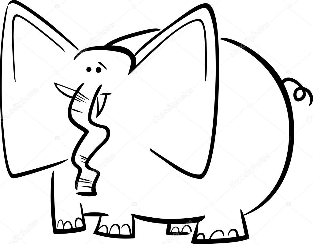 dibujos animados de elefantes para colorear libro — Archivo Imágenes ...