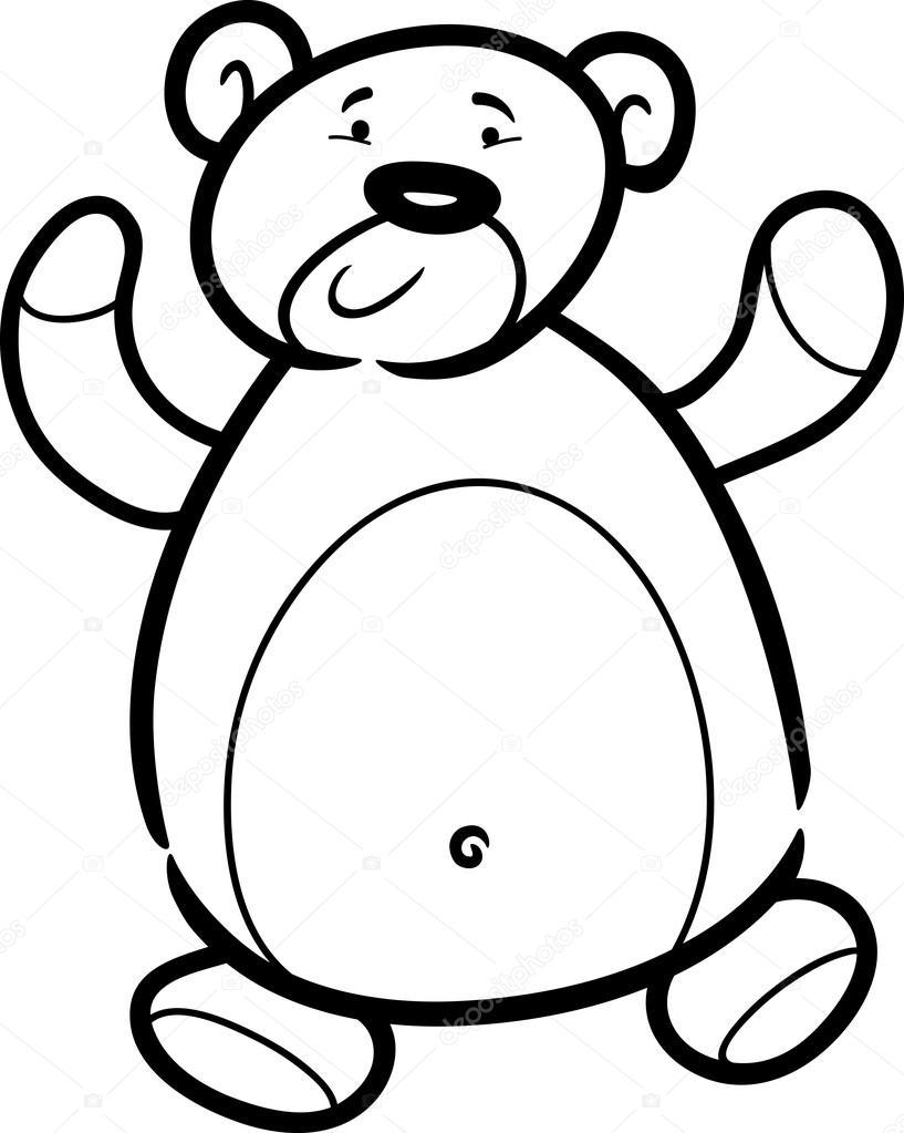 dibujos animados de oso de peluche para colorear libro — Archivo ...