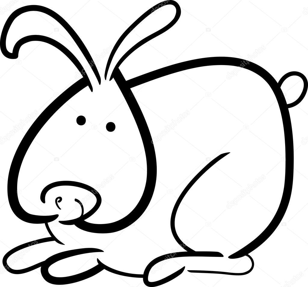 conejo de dibujos animados para colorear libro — Vector de stock ...