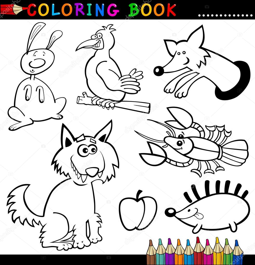 Animals For Coloring Book Or Page Stock Vector Izakowski 12581060