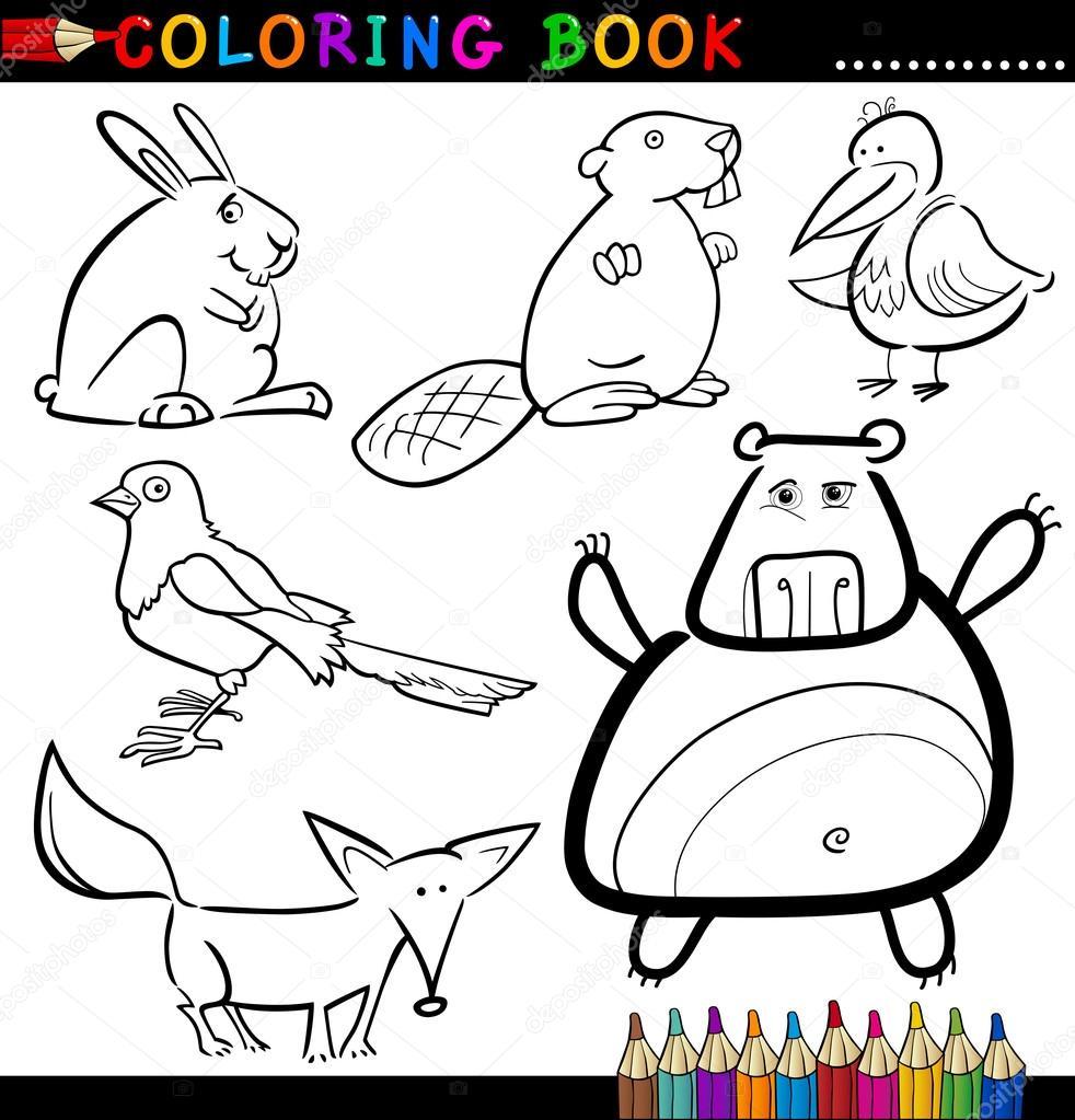 animales para colorear libro o página — Archivo Imágenes Vectoriales ...