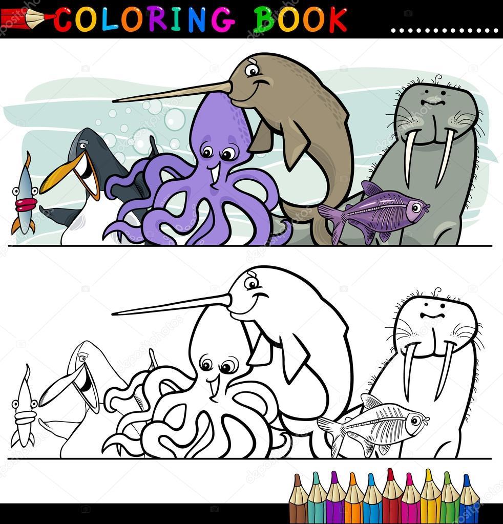 animales de vida marina y el mar para colorear — Vector de stock ...