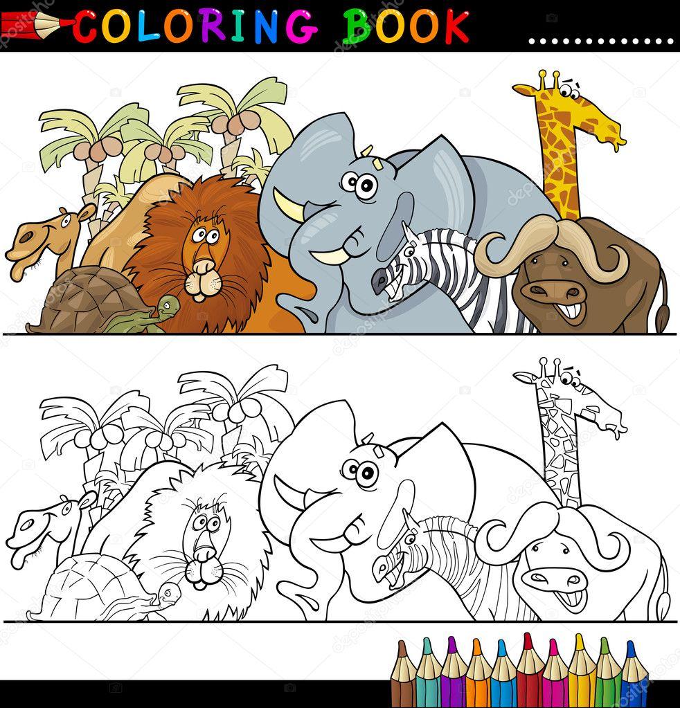animales salvajes safari para colorear — Vector de stock © izakowski ...