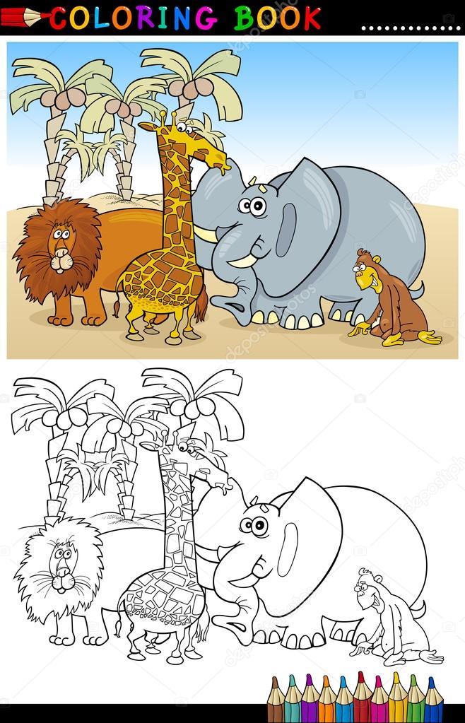 animales salvajes safari para colorear — Archivo Imágenes ...