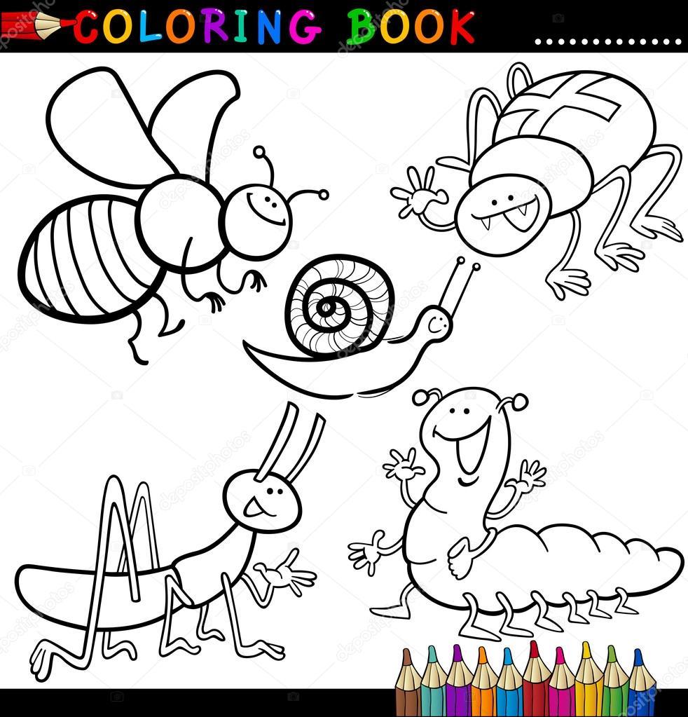 insectos y bichos para colorear libro o página — Archivo Imágenes ...