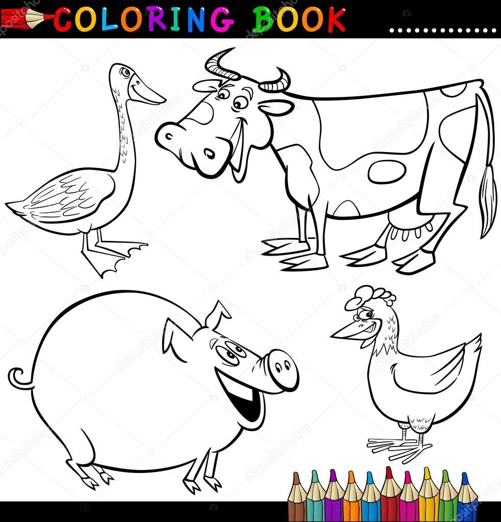 animales de granja para colorear libro o página — Archivo Imágenes ...