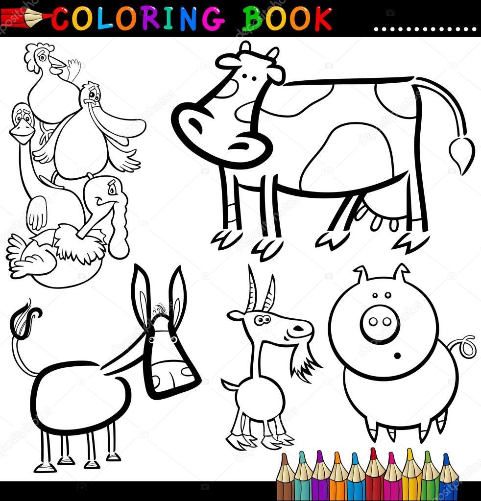 animales de granja para colorear libro o página — Vector de stock ...