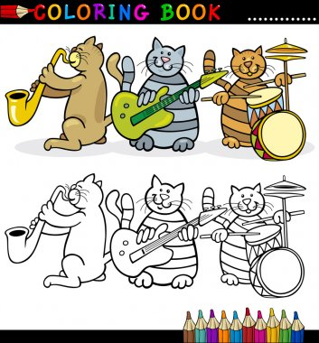 Cats Band for Coloring Book or Page