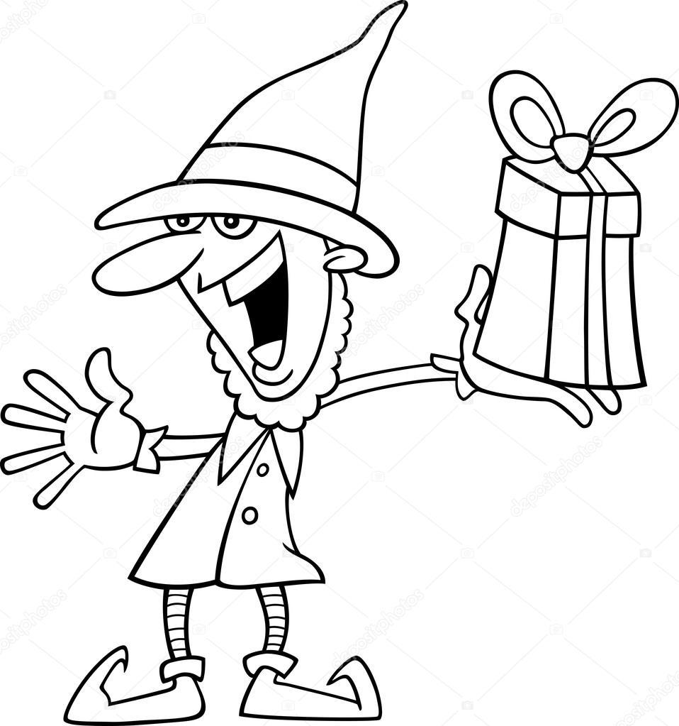 duende de Navidad para colorear libro — Vector de stock © izakowski ...