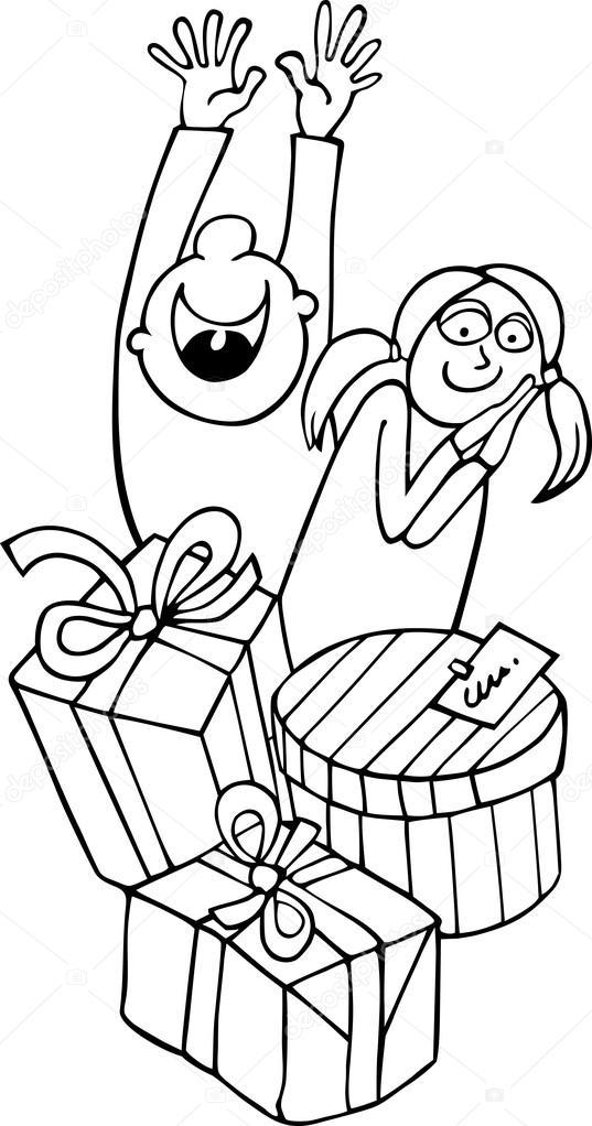 niños y regalos para colorear — Vector de stock © izakowski #13218108