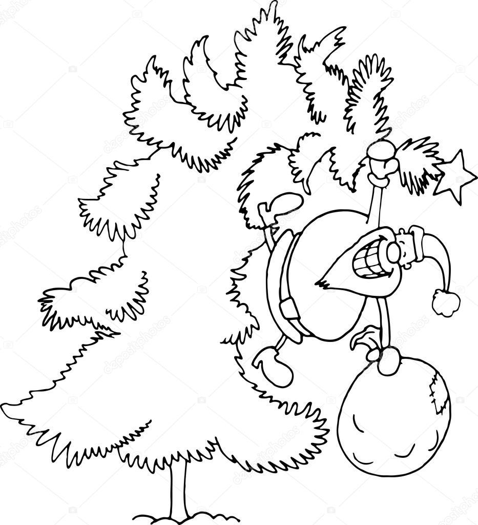 dibujos animados de santa claus para colorear libro — Vector de ...