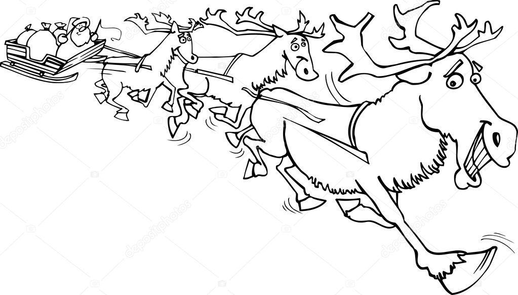 Santa con Reno para colorear — Archivo Imágenes Vectoriales ...