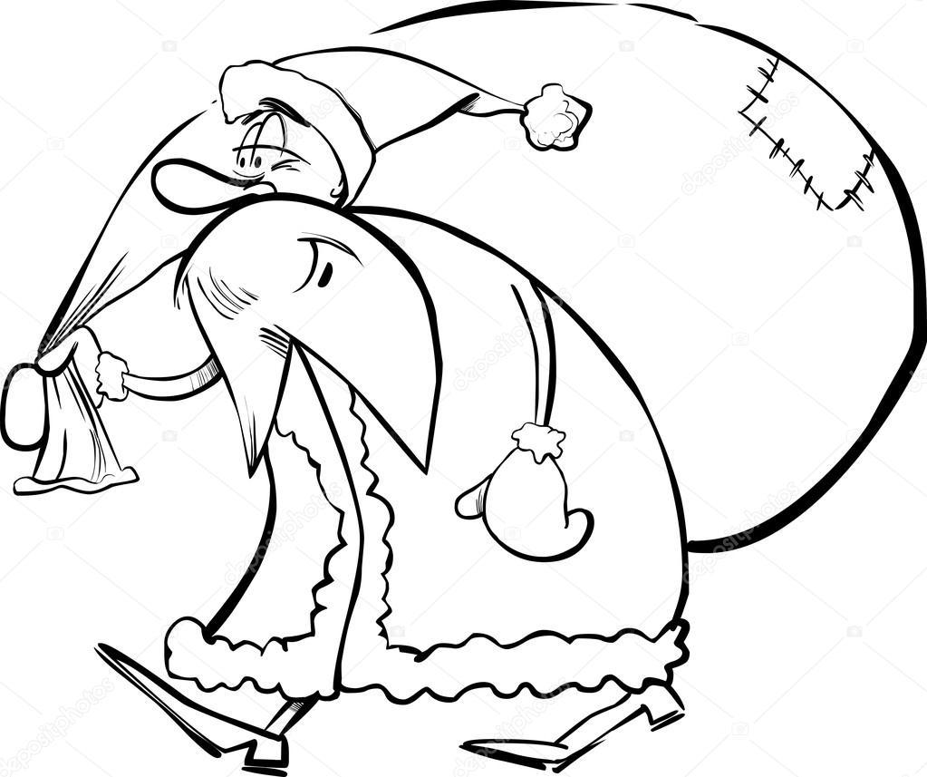 Noel Baba Boyama Kitabı Için Karikatür Stok Vektör Izakowski