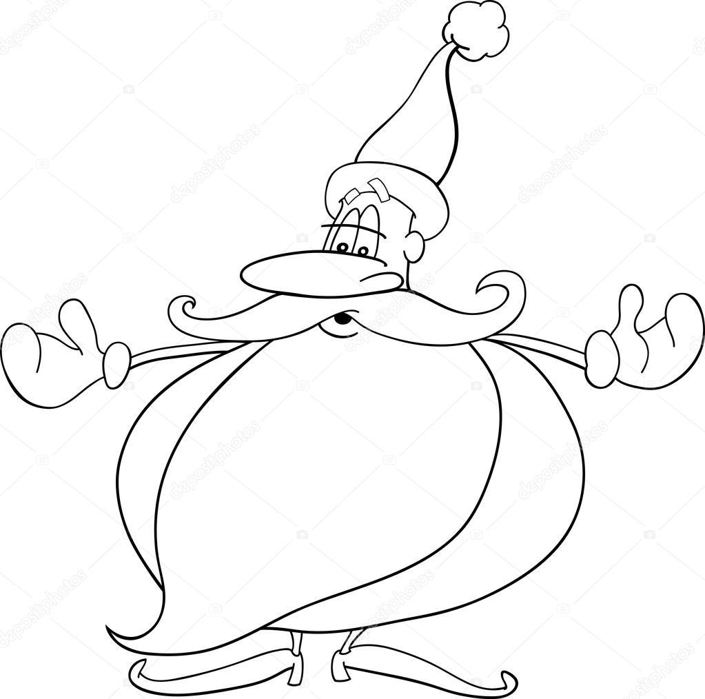 Dibujos Animados De Santa Claus Para Colorear Libro Archivo
