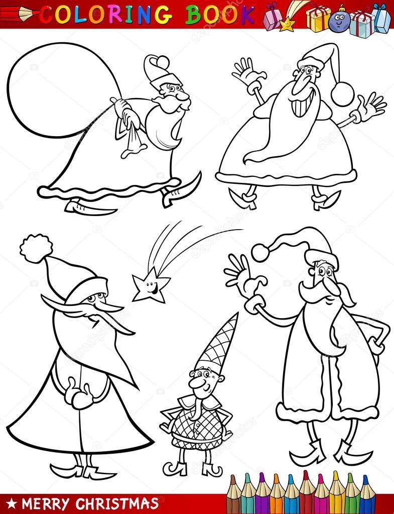 dibujos animados temas de Navidad para colorear — Archivo Imágenes ...
