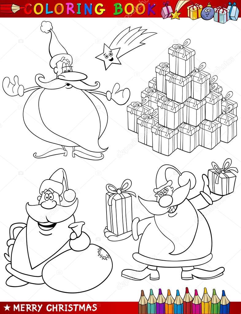 dibujos animados temas de Navidad para colorear — Vector de stock ...