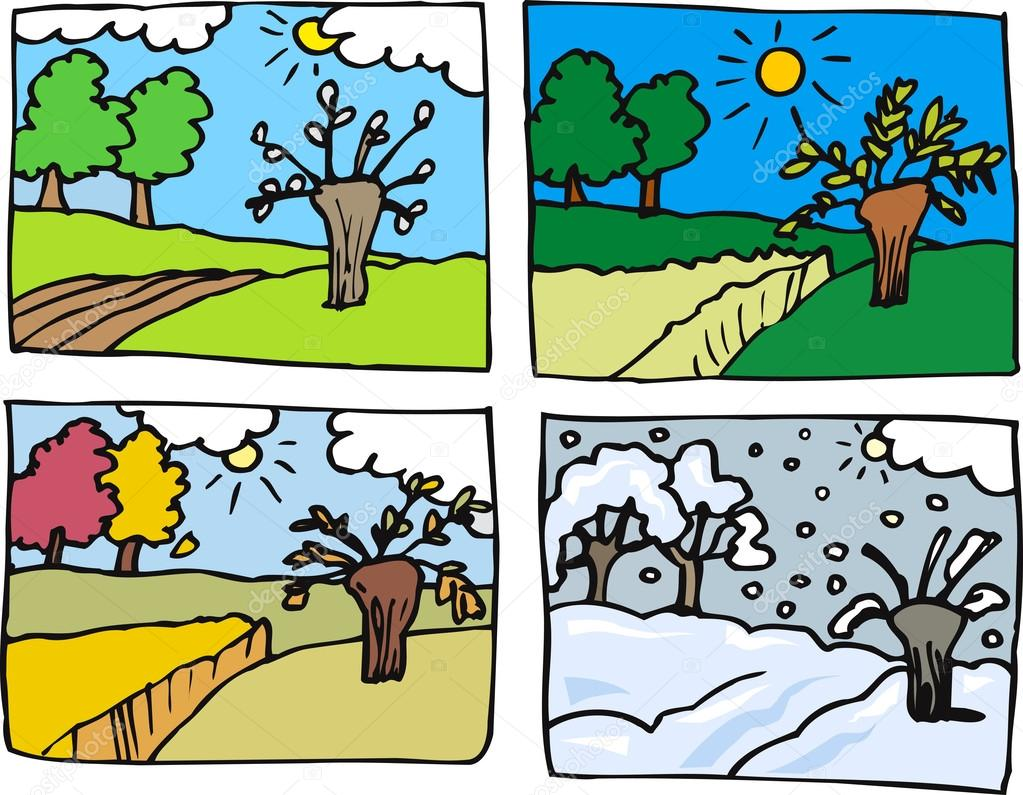 Dört Mevsim Karikatür çizimi Stok Vektör Izakowski 13422803
